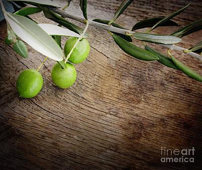 Olives Background Art Print by Mythja  Photography