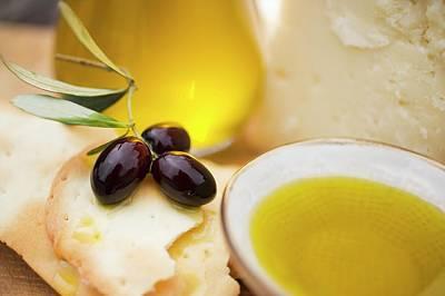 Olives, Crackers, Olive Oil And Parmesan Art Print