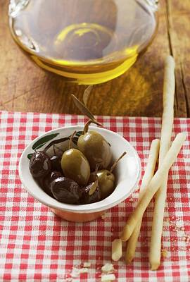 Olives, Grissini And Olive Oil Art Print