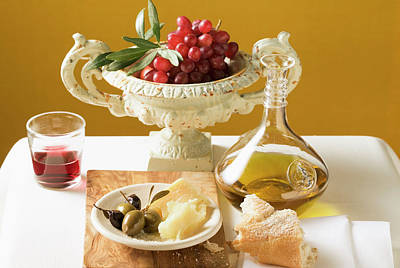 Olives, Parmesan, Bread, Olive Oil, Red Grapes And Red Wine Art Print