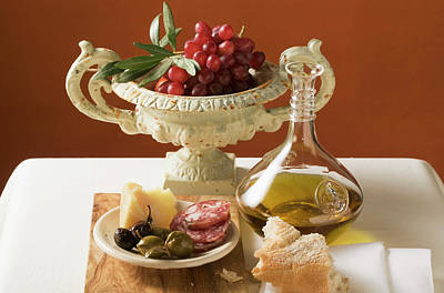 Olives, Sausage, Parmesan, Bread, Olive Oil And Red Grapes Art Print