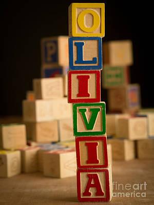 Photograph - Olivia - Alphabet Blocks by Edward Fielding