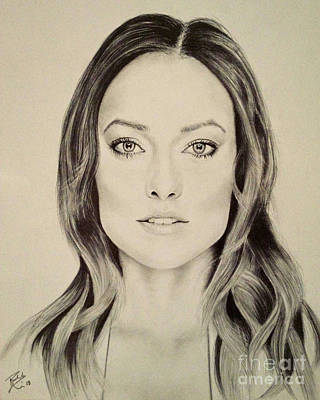 Olivia Drawing - Olivia Wilde Black And White Print by Rabab Ali