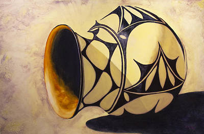 Native American Pottery Print featuring the painting Olla De Santo Domingo by Jack Atkins