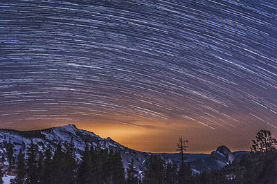 Startrails Photograph - Olmstead Point Star Trails by Cat Connor