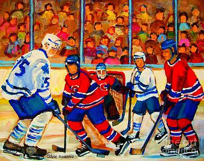 Hockey Sweaters Painting - Olympic  Hockey Hopefuls  Painting By Montreal Hockey Artist Carole Spandau by Carole Spandau