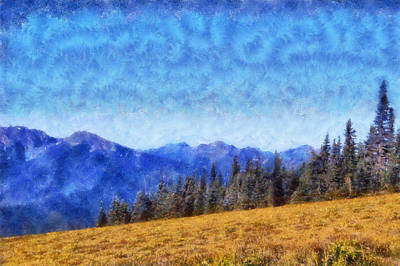 Olympic National Park Digital Art - Olympic Mountain Range by Kaylee Mason