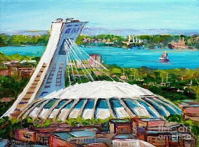 Olympic Stadium Montreal Painting Velodrome Biodome Heritage Art By City Scene Artist Carole Spandau Art Print