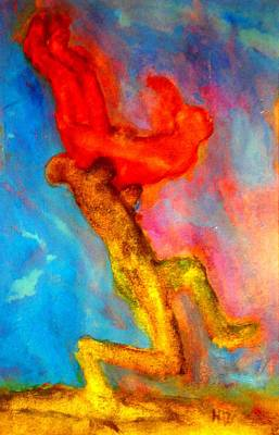 Wrestle Painting - I Will Carry You Anywhere But Where Will You Go  by Hilde Widerberg