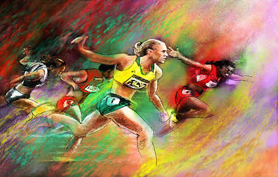 Sports Paintings - Olympics 100 metres hurdles Sally Pearson by Miki De Goodaboom