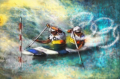Canoe Mixed Media - Olympics Canoe Slalom 01 by Miki De Goodaboom