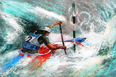 Canoe Mixed Media - Olympics Canoe Slalom 02 by Miki De Goodaboom