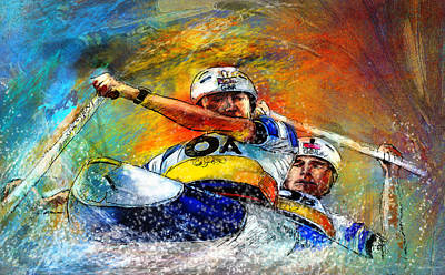 Canoe Mixed Media - Olympics Canoe Slalom 04 by Miki De Goodaboom