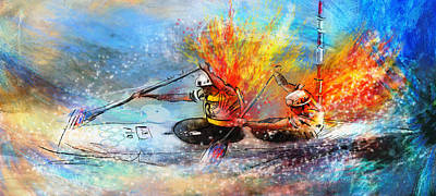 Canoe Mixed Media - Olympics Canoe Slalom 05 by Miki De Goodaboom