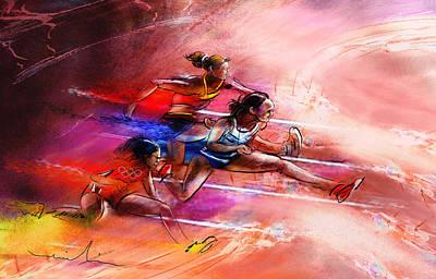 Sports Paintings - Olympics Heptathlon Hurdles 01 by Miki De Goodaboom