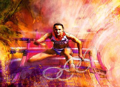 Sports Paintings - Olympics Heptathlon Hurdles 02 by Miki De Goodaboom