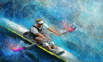 Sports Paintings - Olympics Rowing 01 by Miki De Goodaboom