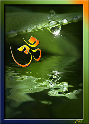 Art Print featuring the mixed media Om On Green With Dew Drop by Peter v Quenter