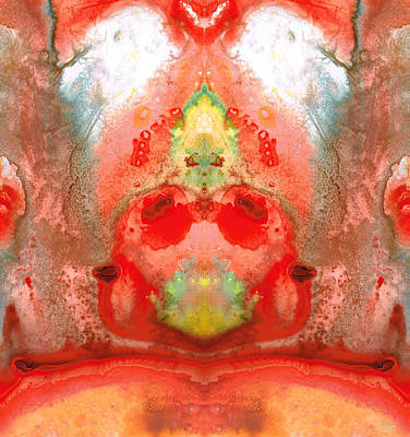 Divinity Painting - Om - Red Meditation - Abstract Art By Sharon Cummings by Sharon Cummings