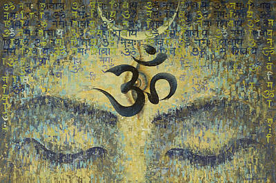 Calligraphy Painting - OM by Vrindavan Das