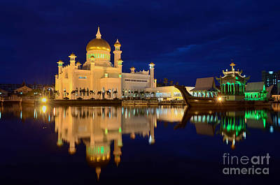 Omar Ali Saifuddien Mosque Mirror - Brunei Art Print by OUAP Photography