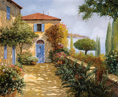 Door Wall Art - Painting - Ombre Sul Terrazzo by Guido Borelli