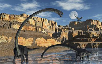 Plateau Digital Art - Omeisaurus Dinosaurs Being Stalked by Mark Stevenson