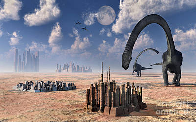 Arid Life Digital Art - Omeisaurus Dinosaurs Come Into Contact by Stocktrek Images