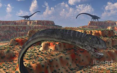 The Plateaus Digital Art - Omeisaurus Sauropod Dinosaurs by Mark Stevenson