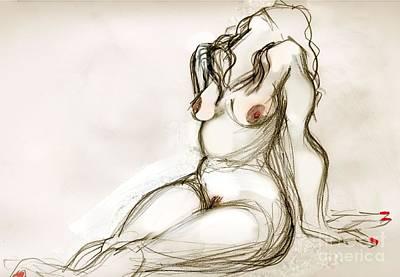 Female Nude. Nude Drawings Digital Art - Omi by Carolyn Weltman