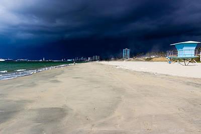 Ominous Sky Over Long Beach Art Print by Heidi Smith
