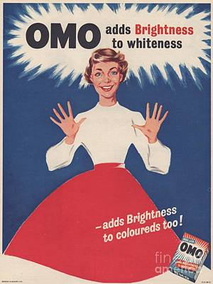 Vintage Drawing - Omo 1950s Uk Washing Powder Housewives by The Advertising Archives