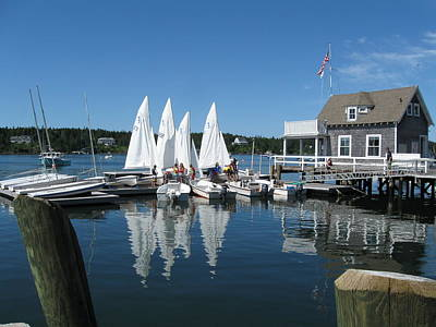 On A Beautiful Maine Summer Morning On The Island Of North Havenjunior Sailing Participants Rig Sailboats Art Print by Downeast Yacht Shots- Ted Fisher Photography