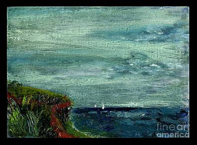 On A Bluff Over The Sea Looking At Sailboats Art Print by Cathy Peterson