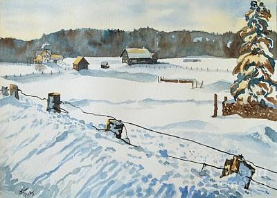 Snow Piles Painting - On A Cold Winter Day In Canada by Lise PICHE