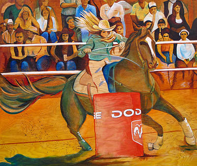 Barrel Racing Painting - On A Dime by Joshua Morton