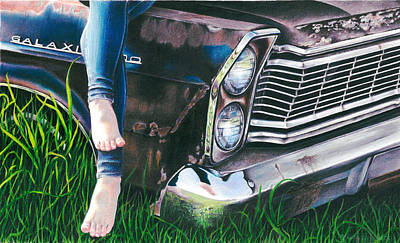 Rusted Cars Drawing - On A Galaxie Far Far Away by Mandy Robertson