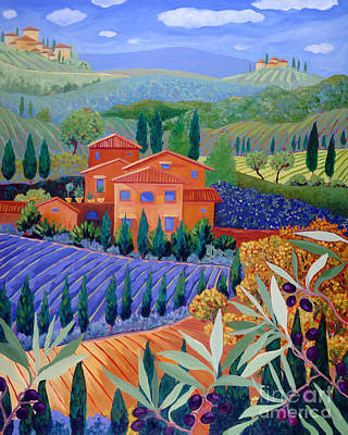 Italian Wine Painting - On A Hill Above Tuscany by Cathy Carey