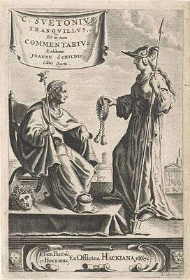 Medusa Drawing - On A Pedestal Is An Emperor On His Throne, Beside A Medusa by Reinier Van Persijn