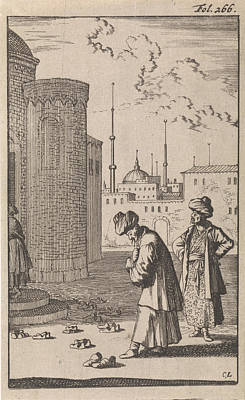 Tying Shoe Drawing - On A Square Two Turks Are Walking Towards A Mosque Where by Caspar Luyken And Timotheus Ten Hoorn