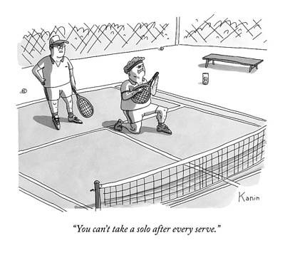 Rock And Roll Drawing - On A Tennis Court by Zachary Kanin