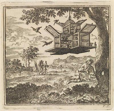 On A Tree Hangs A Birdcage, Jan Luyken Art Print by Jan Luyken And Wed. Pieter Arentsz & Cornelis Van Der Sys (ii)