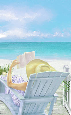 Sun Hat Digital Art - On Beach Time by Jane Schnetlage