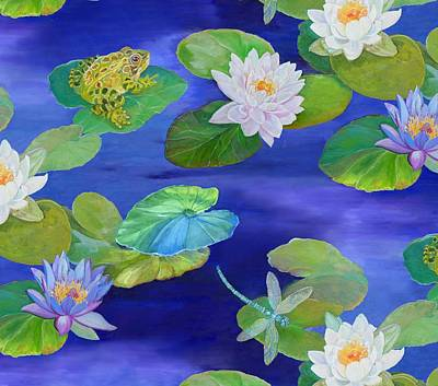 Blue And Green Painting - On Big Fresh Pond by Kimberly McSparran