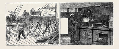 On Board The Indus Emigrant Ship Live Provisions Left Art Print