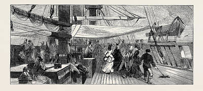 On Board The Indus Emigrant Ship The Ladies On Deck Art Print