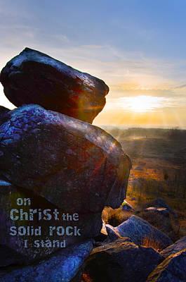 Little Round Top Digital Art - On Christ The Solid Rock I Stand Sunset With Rocks Landscape by Alissa  Skoczelak