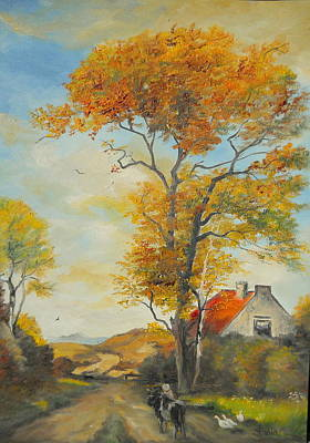 Art Print featuring the painting On Country Road  by Sorin Apostolescu