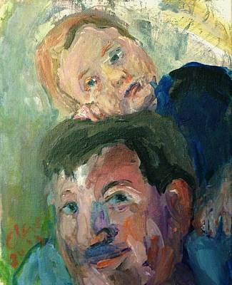 Drawing - On Daddy's Shoulders by Elaine Schloss