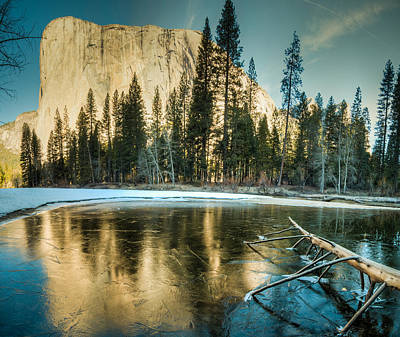 Photograph - On Frozen Pond El Capitan Reflection by Connie Cooper-Edwards